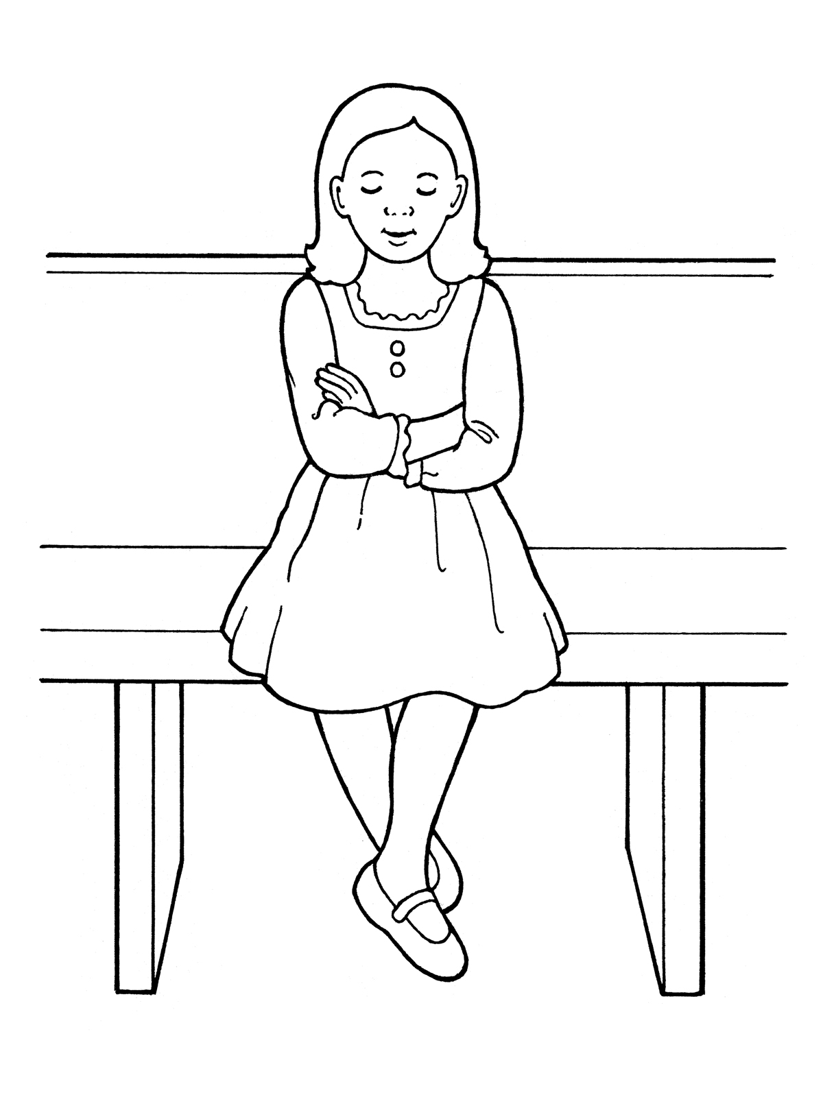 Young Girl Showing Reverence in Sacrament Meeting