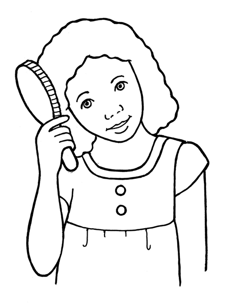 A black-and-white illustration of a young girl brushing her medium-length, curly hair with a paddle brush.