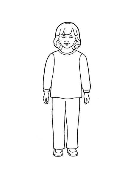A black-and-white illustration of a young girl standing with shoulder-length hair and wearing a simple sweater and pair of trousers.