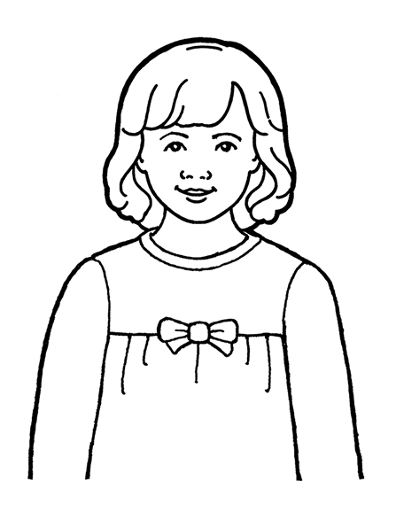 A black-and-white illustration of a young girl with shoulder-length hair wearing a sweater with a bow on the front of it.