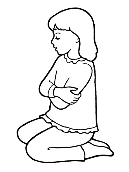 A black-and-white illustration of a young girl in a frilly sweater and simple pair of trousers kneeling to pray on the ground.