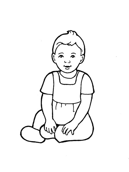 A black-and-white illustration of a baby girl wearing a jumper and sitting on the ground.