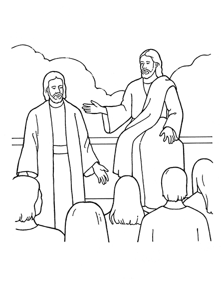 A black and white illustration of Heavenly Father and Jesus Christ presenting the plan to a group of spirits in the premortal life.