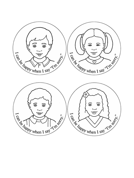 "Black-and-white illustrations of four Primary children with the words ""I can be happy when I say 'I'm sorry.'"""