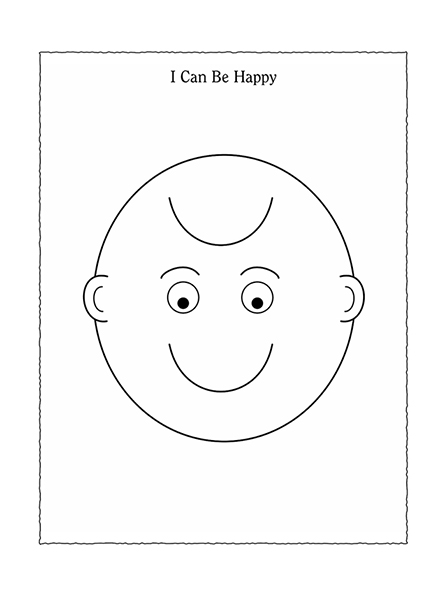 "A black-and-white illustration of a face that is either a smile or a frown, depending on which way it is held, with the words ""I Can Be Happy."""