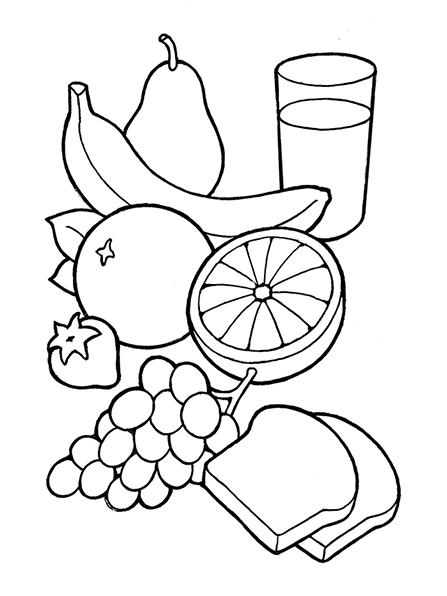 A black-and-white illustration of some healthy food, including various fruits, two slices of bread, and a glass of milk.