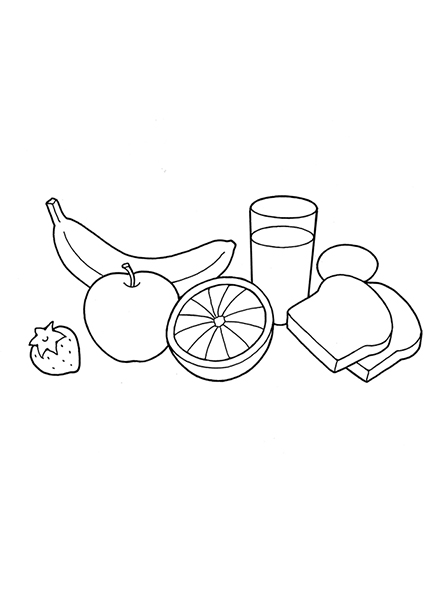 A black-and-white illustration of food including bread, strawberries, a banana, an egg, an orange, an apple, and a glass of milk.