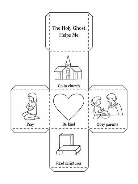 An activity page of a series of illustrations of praying, a heart, a meetinghouse, the scriptures, and a mother and daughter cooking together.