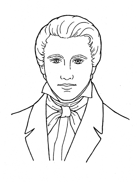 A black-and-white illustration of Joseph Smith the Prophet.
