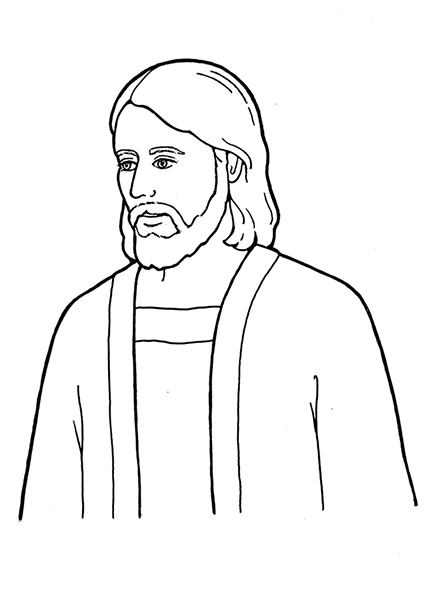A black-and-white illustration of Jesus Christ wearing a simple robe.