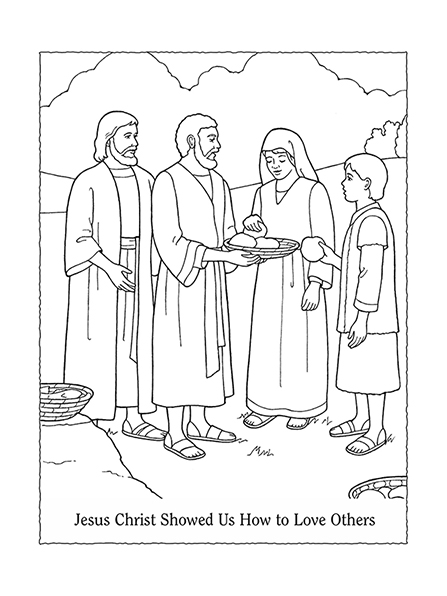 "A black-and-white illustration of Christ feeding a group of people, next to the words ""Jesus Christ Showed Us How to Love Others."""