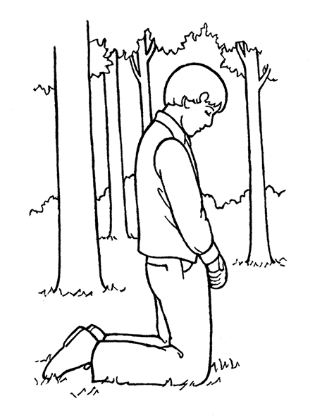 A black-and-white illustration of the young boy Joseph Smith kneeling in prayer in the Sacred Grove prior to the First Vision.