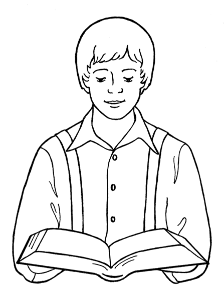 A black-and-white illustration of the young boy Joseph Smith reading the scriptures.