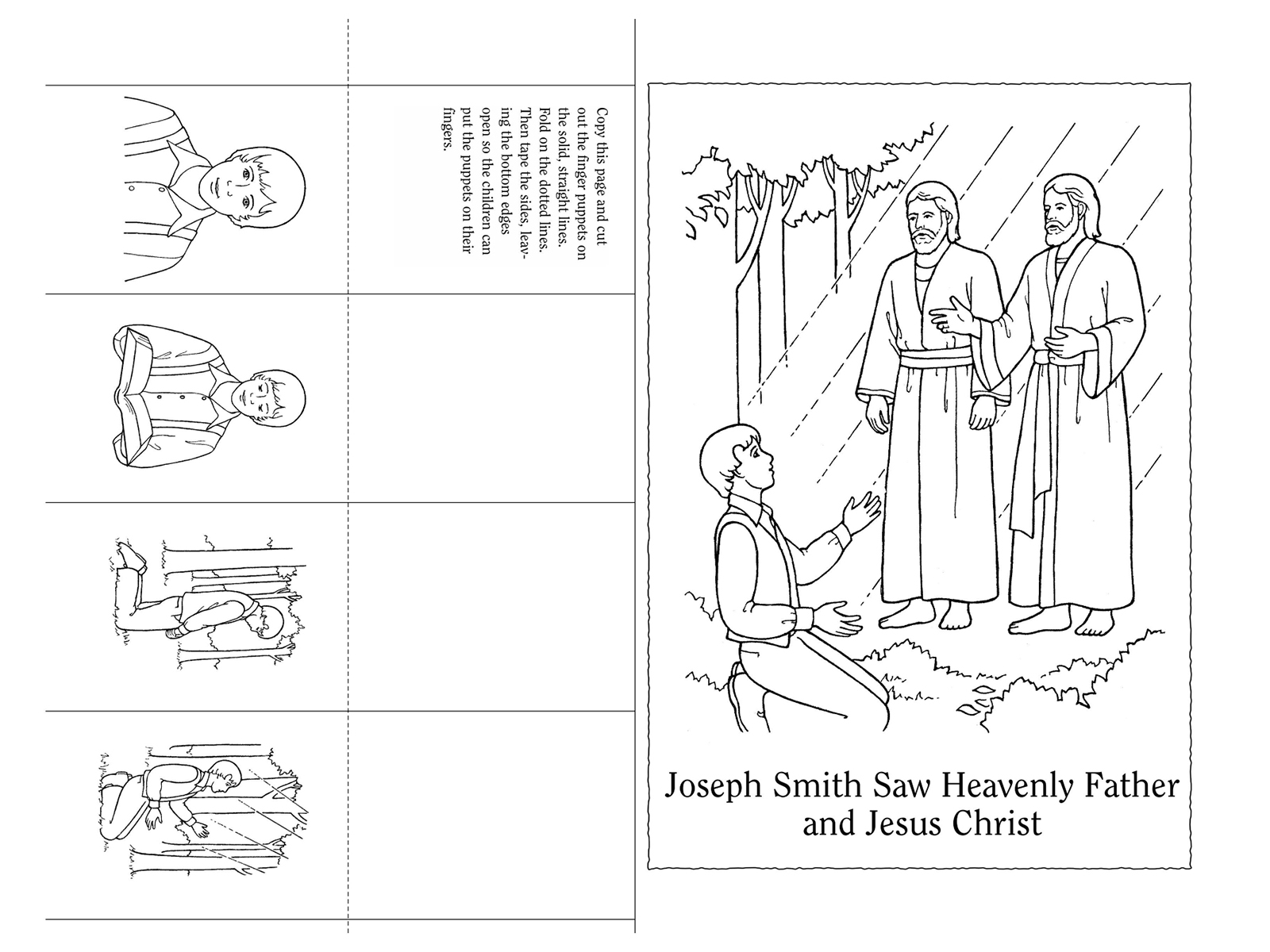 Nursery manual page 91 joseph smith saw heavenly father for Joseph smith first vision coloring page