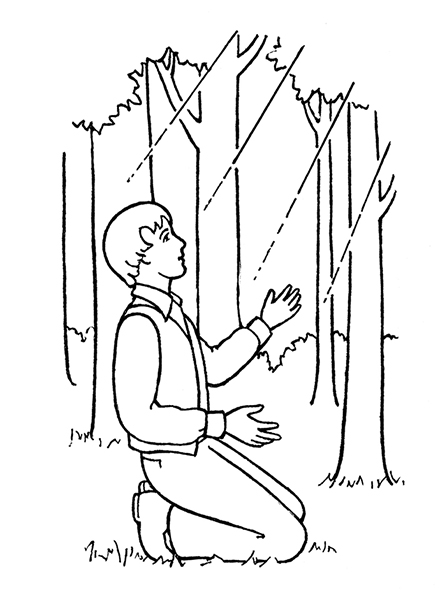 A black-and-white illustration of Joseph Smith kneeling in the Sacred Grove and seeing a light overhead prior to the First Vision.