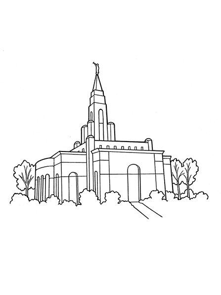 A black-and-white illustration of a temple topped with an angel Moroni statue and surrounded by plants and trees.