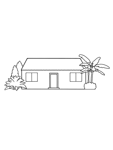 A black-and-white illustration of a small home with plants and trees outside of it.