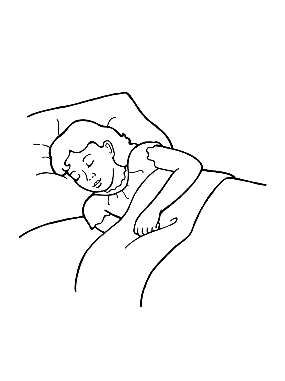 Girl Sleeping in BedNap Time Clip Art Black And White