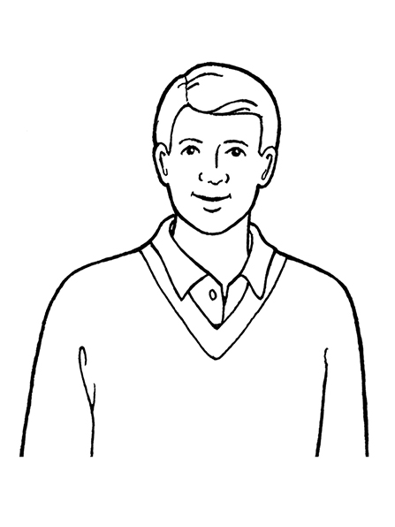 A black-and-white illustration of a man with his hair parted on the side, wearing a V-neck sweater with a collared shirt underneath it.