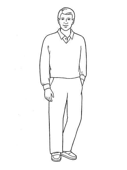 A black-and-white illustration of a man standing and wearing a V-neck sweater over a collared shirt and a simple pair of trousers.