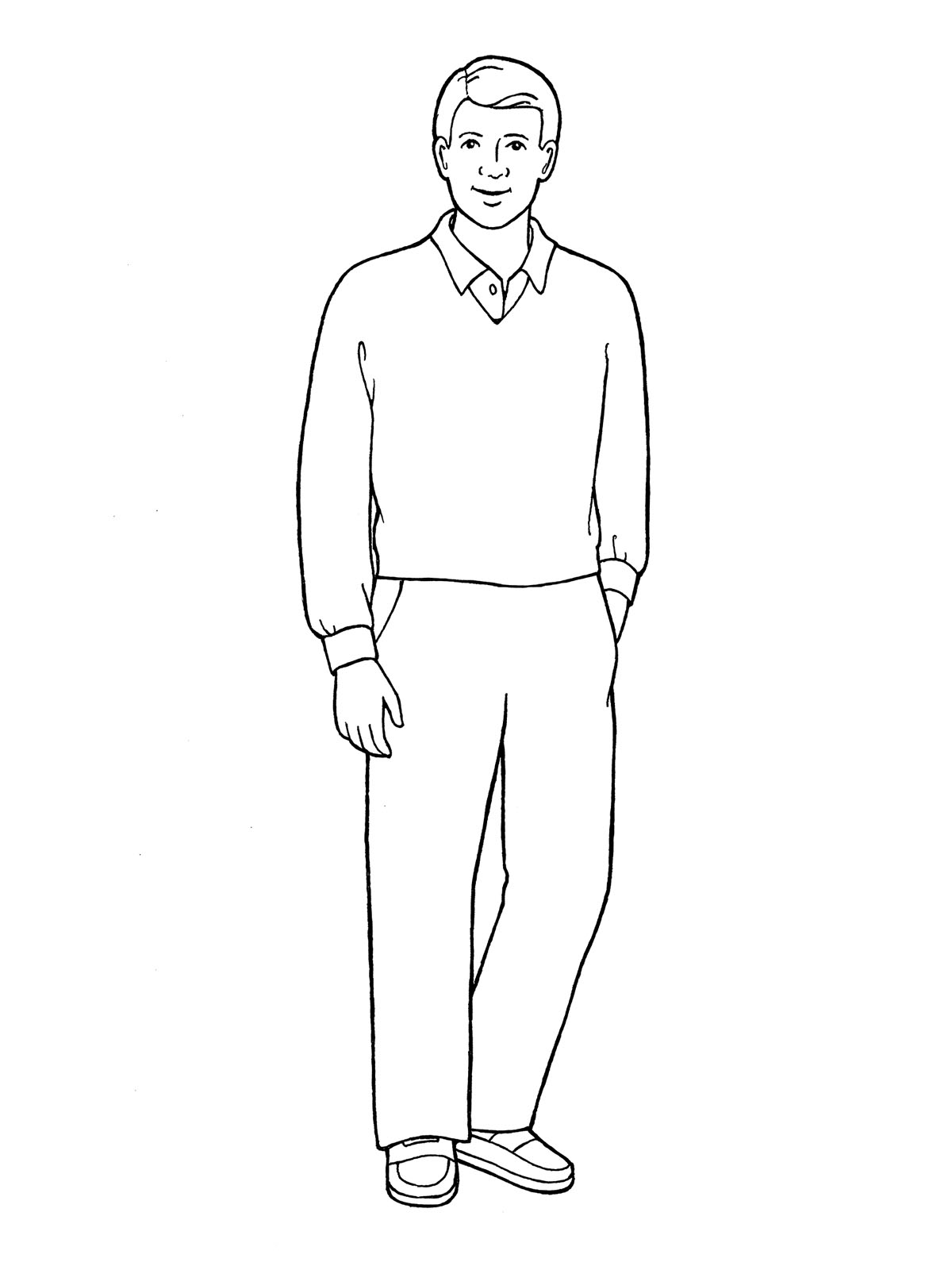 Line Art Man : Father standing