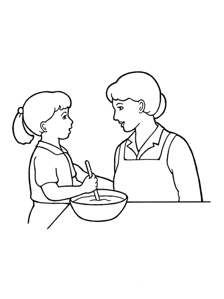 A black-and-white illustration of a mother and daughter stirring a bowl of something together in the kitchen.