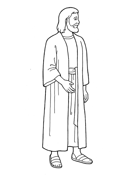 A black and white illustration of Jesus Christ in a robe, standing and looking to the side.