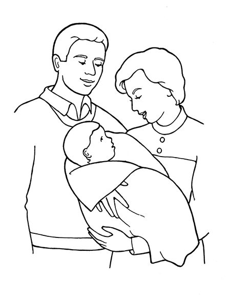 A black-and-white illustration of a mother and father standing and looking at their baby, who is wrapped in a blanket in the mother's arms.