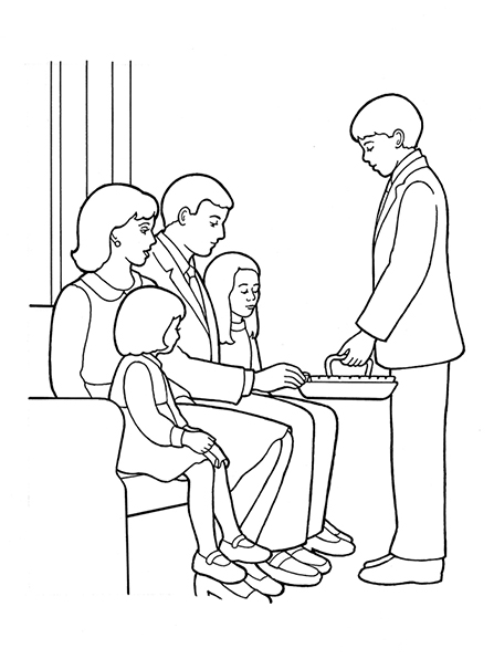 A black-and-white illustration of a deacon passing the sacrament to a family with two young girls.