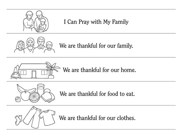 Black-and-white illustrations of a family, a home, clothing, food, and prayer, with statements about the family next to the images.