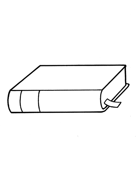 A black-and-white illustration of of the Book of Mormon lying closed on its side with a small ribbon bookmark seen between the pages.