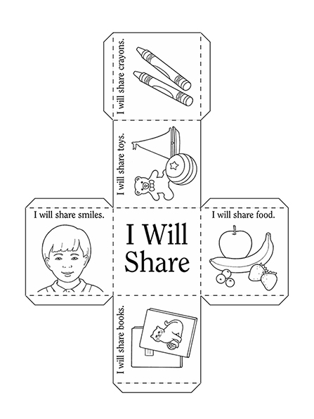 An activity page of a series of illustrations, books, toys, crayons, and food meant to be cut out and glued into a cube for a game.