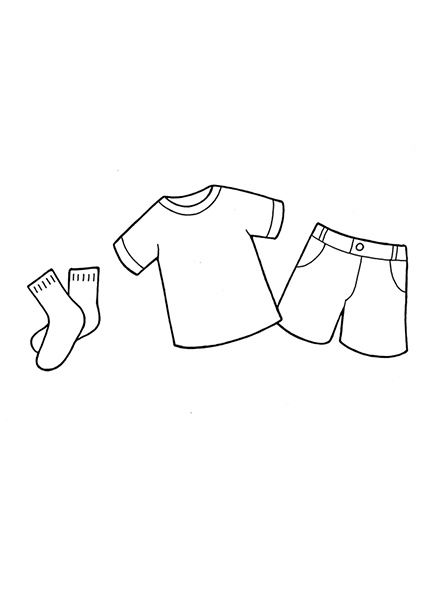 A black-and-white illustration of some children's clothing, including a shirt, shorts, and socks.