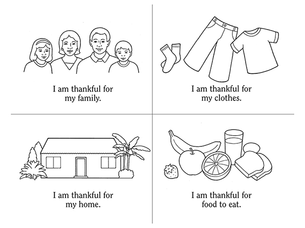 Black-and-white illustrations of a family, a home, clothing, and food, with statements about being thankful beneath the images.