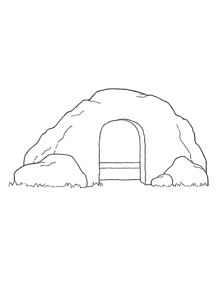 A black-and-white illustration of a large tomb standing empty with no stone or other covering over the entrance.