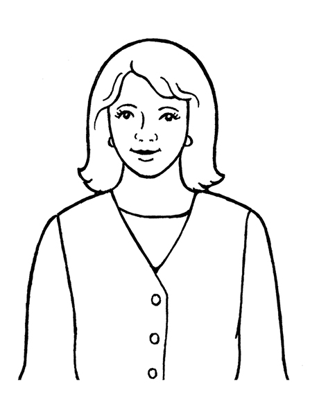 A black-and-white illustration of a woman with shoulder-length hair, wearing a dress and a long-sleeve shirt underneath it.