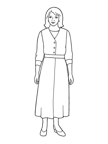A black-and-white illustration of a woman standing and wearing a long, belted dress with a long-sleeved shirt under it.
