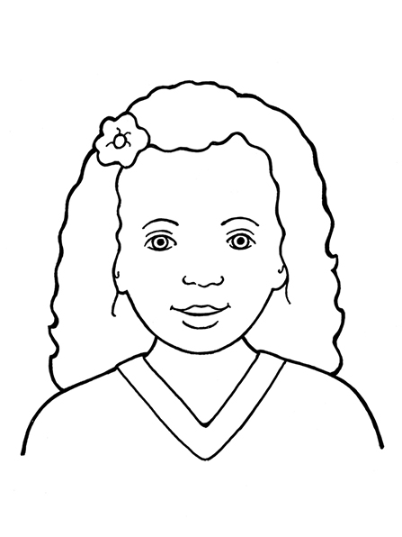 A black-and-white illustration of a Primary-age girl wearing a simple tunic top with a small flower in her curly hair.