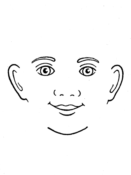 A black-and-white illustration of a smiling face.