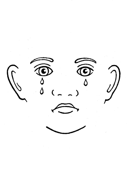 A black-and-white illustration of a face with a frown and several tears falling down from the eyes.