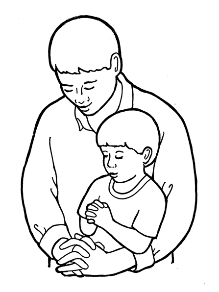 A black-and-white illustration of a man and a boy bowing their heads and folding their hands in prayer.