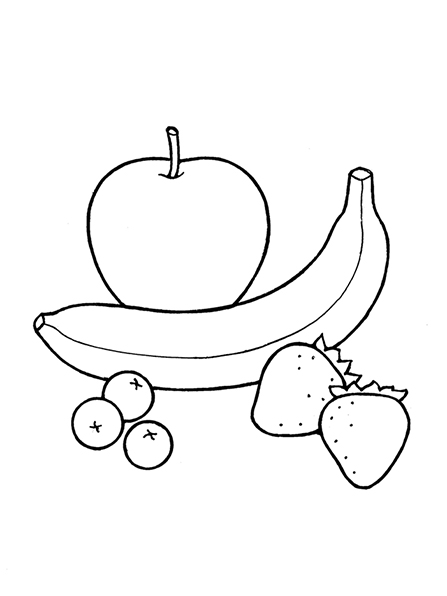 A black-and-white illustration of fruit, including a banana, three blueberries, and two strawberries.