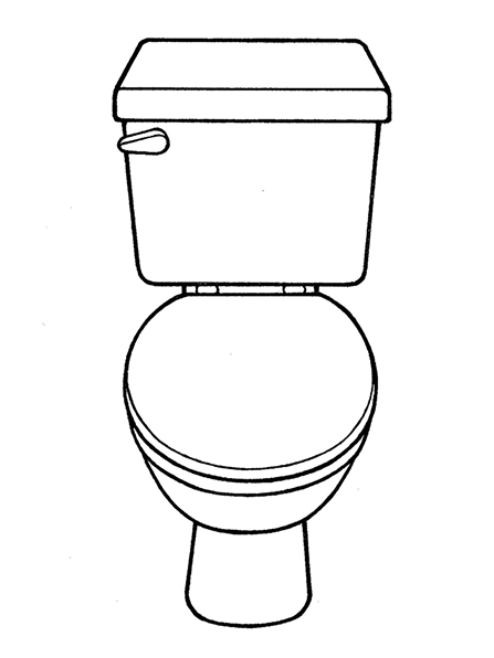 A black-and-white illustration of a toilet with the lid down.