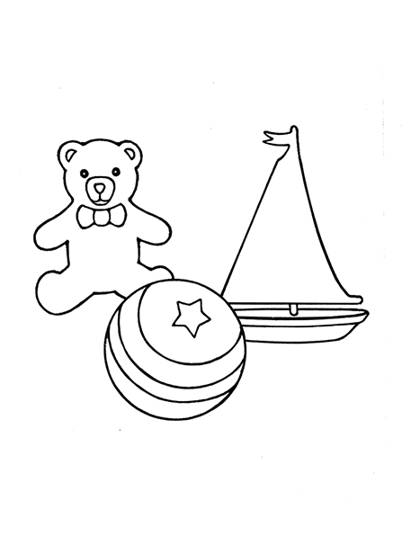 A black-and-white illustration of a small toy sailboat, a teddy bear, and a large ball with a star on it.