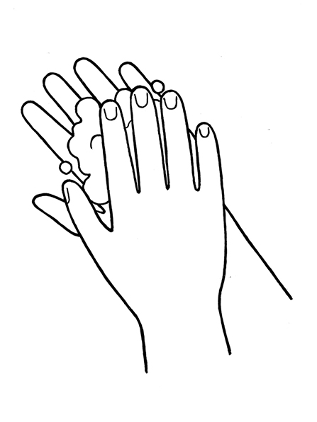 A black-and-white illustration of two hands with a lather of soap between them.