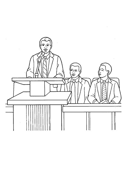 A black-and-white illustration of a bishop on the stand speaking into the microphone while his two counselors sit behind him to the right.