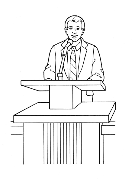 A black-and-white illustration of a bishop in a suit and tie standing at a podium speaking into the microphone.