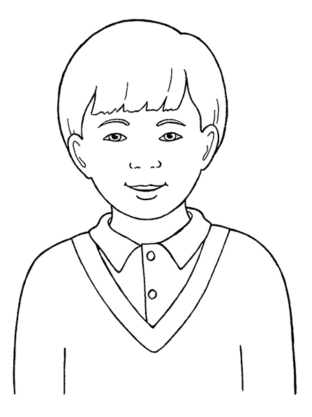 A black-and-white illustration of a young Primary-age boy with short hair wearing a V-neck sweater and a collared shirt.