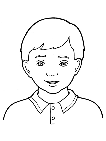 A black-and-white illustration of a Primary-age boy with short, straight hair and a shirt with a collar and two buttons.