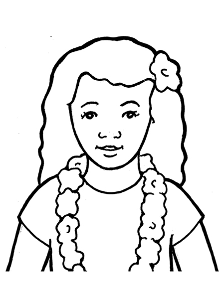A black-and-white illustration of a young girl with long, curly hair and dark eyes wearing a simple T-shirt, a flower lei, and a flower in her hair.
